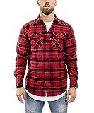 Blackskies Hemd Herren Langarm | Streetwear Flanellhemd Freizeithemd - Rot-Schwarz X-Large XL