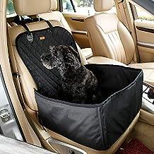 Petcomer Protector de Asiento de Coche para Mascota Perro Gato Asiento Cubierto Caja de Transporte 2 en 1 Funda Impermeable y Resistente (Negro)