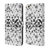 Head Case Designs Offizielle Vasare NAR Geometrisch Grau Muster 3 Brieftasche Handyhülle aus Leder für iPhone 6 Plus/iPhone 6s Plus