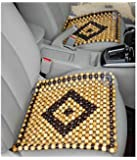 OnWheel FurnishMyAuto Car Bead Seat Wooden Acupressure Sitting Cushion Cover Pad (Beige)