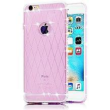 Sunroyal® iphone 7 cover, custodia per Apple iphone 7 (4.7 pollici) Bling Strass Gliter Diamante Coperture Shell Ultra Sottile Transparent Morbido TPU Gel Silicone Protettiva Case Bumper (Viola)