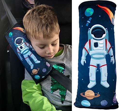 Almohadilla HECKBO® para coche con dibujo de astronautas para niños - lavable a máquina - suave, tacto de peluche - almohadilla de alta calidad para el cinturón de seguridad, funda de cinturón