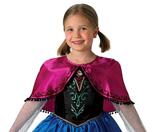 Imagen de niña frozen anna disfraz de lujo plus capa todas las tallas  azul, negro y rosa, 5 6 years alternativa