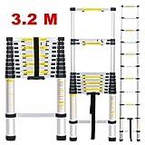 Insasta 3.2M Telescopic Aluminum Ladder Extendable Folding Step Ladder