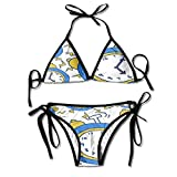 Fashion Alarm Clock Morning Women Swimwear Bandage Bikini Set Push-up Padded Bra Swimsuit