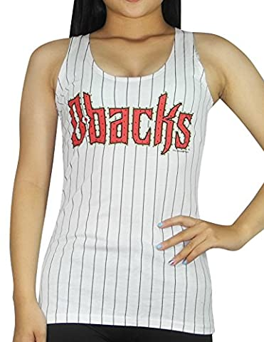 MLB Arizona Diamondbacks Womens Racerback Tank Top with Rhinestones S White