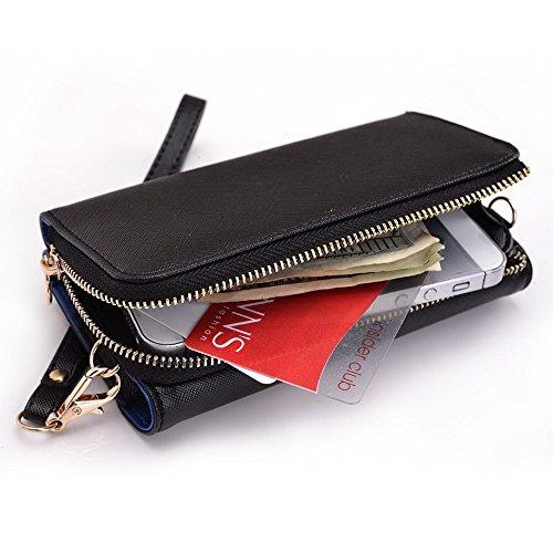 Kroo d'embrayage portefeuille avec dragonne et sangle bandoulière pour Smartphone LG F60 Black and Orange Black and Blue