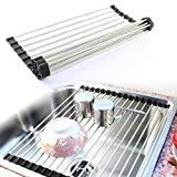 #5: Prexea Grade Foldable Stainless Steel Wash Rack Collapsible Colander Drying Tray (Colour May Vary)