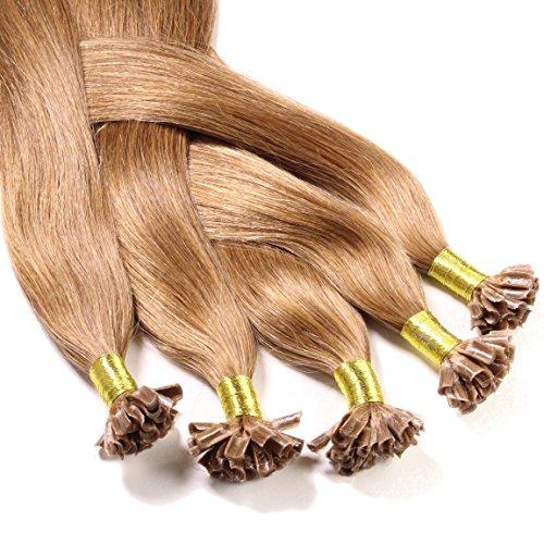 Just Beautiful Hair and Cosmetics Lot de 100 extensions de cheveux naturels Remy Hair avec points de kératine pour pose à chaud Brun clair (8) 60 cm