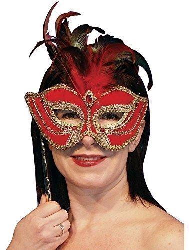 Feder Mardi Gras Maskenball Barock Gesicht Augen Maske am Stil (Rot Und Gold Fancy Maske)