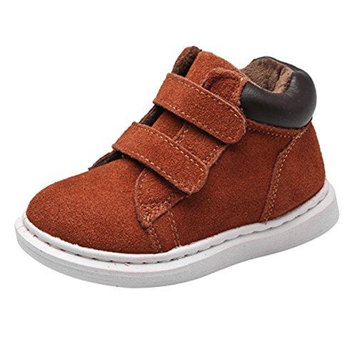 Winter Kinder Schneestiefel - hibote Baby Jungen Mädchen Winddicht Warm Boots Schnee Stiefel Gummisohle Rutschfeste Schuhe Gr.24 Braun (Schnee Stiefel Turnschuhe)