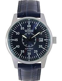 LIV MORRIS 610098076315 - Reloj para hombres, correa de cuero color azul
