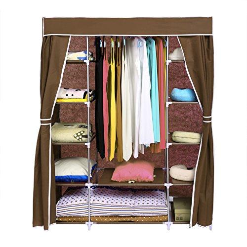 Acecoree Faltschrank 170x133x44cm 1 hängeregal 12 Ablagen Groß Kleiderschrank Faltschrank Garderobe stoffschrank Campingschrank (Braun)