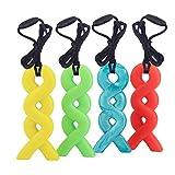 Collar de Mordedor, Yuccer Mordedor de Silicona para Niños Juguetes Masticables Sensoriales para Autistas (Azul+Verde+Amarillo+Naranja, Paquete de 4)