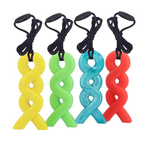 Halskette Beißring, Yuccer Baby Beisskette Silikon Zahnen Halskette Sensory Chew Toys für Autistische Kinder (Blau + Grün + Gelb + Orange)