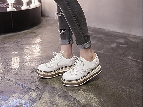 XieShiJie Femme bottes / nouvelles croûte épaisse / chaussures / Brock / style / gland / chaussures / muffins / chaussures basses / chaussures Oxford / bottes / britanniques White