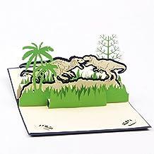 Papier Spiritz Dinosaure 3d Pop Up Carte de voeux carte postale assorti enveloppe Découpe Laser faite à la main Fête des mères anniversaire carte postale Cadeau pour maman elle lui (lot de 1)