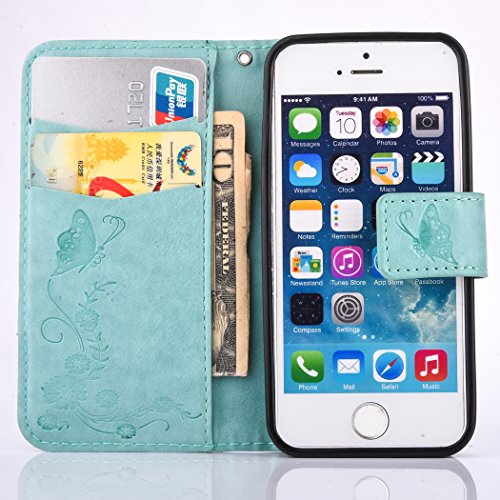 iPhone SE 5 5S Coque,Cozy Hut Coque iPhone SE 5 5S Case Housse Étui en PU Cuir Bumper Flip Cover Bookstyle Support Cartes Slots Ultra Mince Léger Fermeture Aimantée Étui iPhone SE 5 5S Coque Motif Gra bleu clair