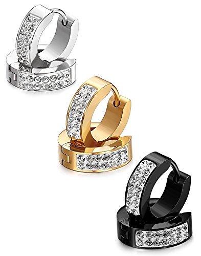 Eleganti orecchini a cerchio, fatti a mano con strass, da donna o uomo, in stile punk rock, in argento (d'oro+argento+nero)