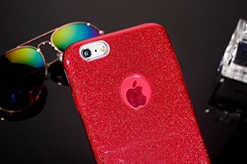 Custodia iPhone 6S Cover iPhone 6 ,Ukayfe Moda UltraSlim Gel TPU Silicone Custodia per iPhone 6S, Case Morbida Soft Bling Cristallo Protettiva Custodia Brillantini Resistente ai Graffi Anti Scivolo Ca Rosso