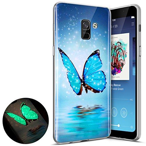 Coque Samsung Galaxy A8 2018,Surakey Nuit Luminous Effet Fluorescent TPU Housse Silicone Transparent Coque Souple Housse Étui Protection TPU Case Cover pour Samsung Galaxy A8 2018 (Papillon Bleu)