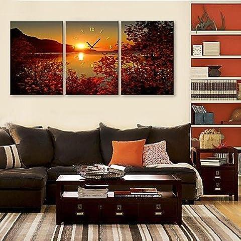 LY&HYL e-Home® l'orologio lago tramonto in tela di canapa 3pcs , 28