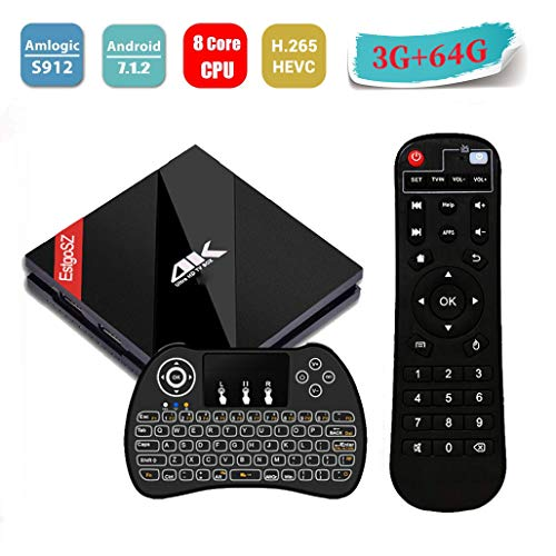 [drahtlose hintergrundbeleuchtete Tastatur]  EstgoSZ 2018 Android 7.1 TV-Box 3 GB RAM + 64 GB ROM Amlogic S912 Okta-Core 64 Bit / Dual Wifi 2,4 / 5,0 GHz / BT4.1 / LAN 1000M / 3D / 4K