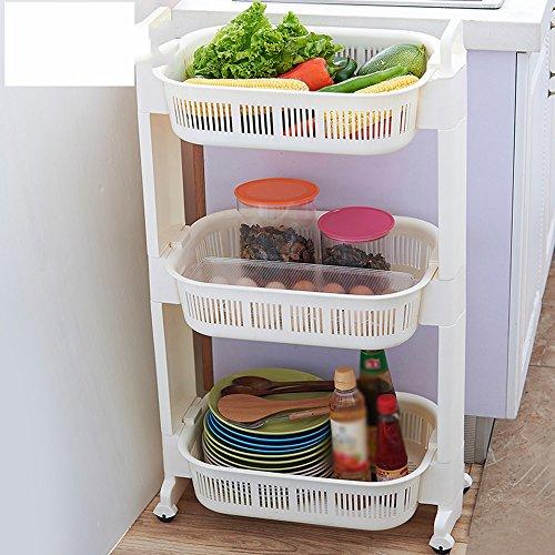 Plato de la cocina del estante de la verdura, cesta de almacenaje móvil multicapa de la fruta, estante de la fruta y del vehículo del hogar ( Tamaño : 51*31.85.5cm )