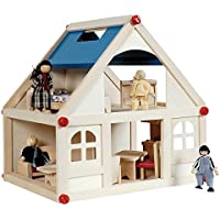 Sentik® Children's Toy Wooden Doll House With Furniture & Figures People Kids Fun
