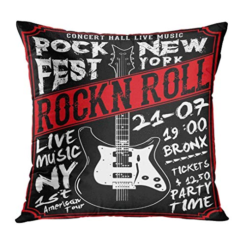 vcbndfcjnd Throw Pillow Cover Roll Rock Tee Graphic Creative Metal Black Concert Cool Decorative Pillow Case Home Decor Square 16x16 Inches Pillowcase
