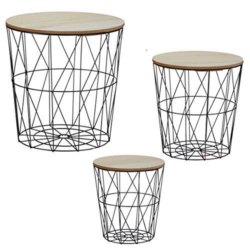 Bada Bing 3er Set Metall Korb Beistelltisch Metallkorb Couchtisch Kaffeetisch Wohnzimmertisch Modern Rund Holz Design Tisch 3 Größen 98