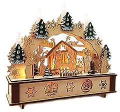 Idea Regalo - Wichtelstube-Kollektion Gnomo Collezione LED Arco Luminoso Gesù Nascita Candeliere Natale Nascita Arco con Timer