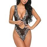 Dessous Erotik Damen Set Hot Dessous Spitze Unterwäsche Nachtwäsche Nachtwäsche Siam Body (L, Black)