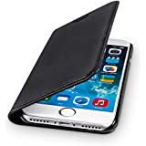 """WIIUKA Echt Ledertasche """"TRAVEL"""" Apple iPhone 7 mit Kartenfach extra Dünn Tasche Schwarz Premium Design Leder Hülle"""