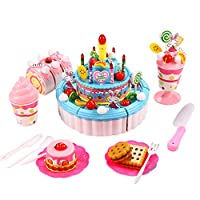 Smibie Fun DIY Birthday Cake Pretend Play Food Toy Set- Triple-Layer Light & Birthday Song Party Cake for Children Kids Girls (Blue)