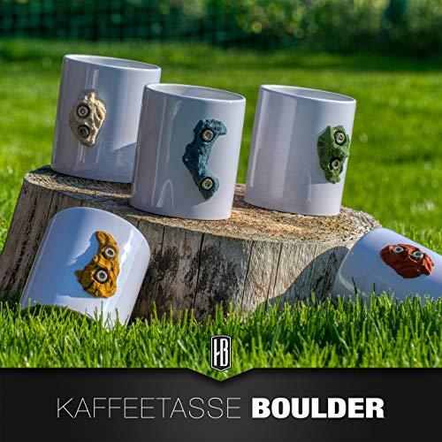 Kaffeetasse mit Boulderstein Klettergriff aus dem Klettersport (Kaffee-tassen Grüner Berg)