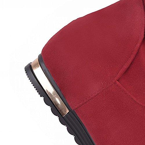 WIKAI Donna Comfort tacchi Novità Bootie Inverno Primavera in similpelle Ufficio Casual & Carriera Bowknot tacco basso Beige Rubino Nero 1A-1 3/4in,Beige,noi6.5-7 / EU37 / UK4,5-5 / CN37 Beige