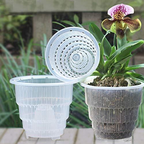 set di 4 pz, vaso di fiori trasparente per di orchidee, con foro traspirante, fioriera in plastica per decorazioni da scrivania o da giardino, come da immagine, 10 cm