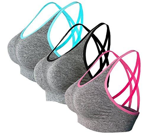 Novecasa reggiseno sportivo da donna 3 pezzi per fitness yoga che funziona comoda palestra senza fili senza cuciture con pad rimovibili 3-pack,vari colori opzionali (s, blu-nero-rosso)