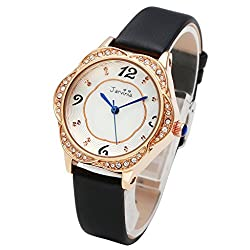 JSDDE Women Luxury Casual Rose Gold Tone Water Resistant Analog Bracelet Watch Black Genuine Leather Rhinestone Flower Case Japanese Quartz Watch