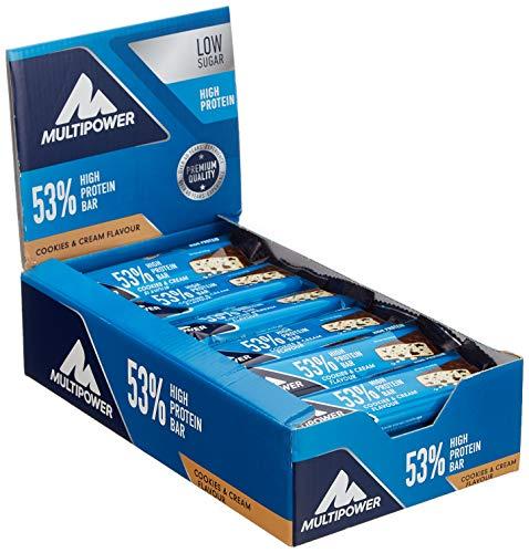 Energy Bar Cookies (Multipower 53% Protein Bar - 24 x 50 g Eiweißriegel Box - Cookies and Cream - Fitnessriegel mit 53 % hochwertigem Protein - 27 g Eiweiß pro Proteinriegel)