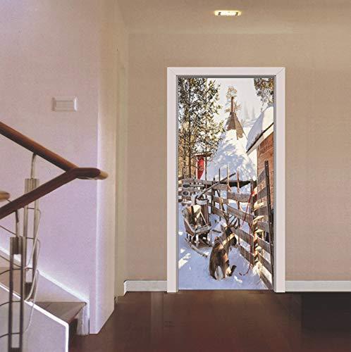 er Schnee Blockhütte Weihnachten Thema Wand Baby Mädchen Zimmer Tür Aufkleber Dekor Wallpapers 80x200cm ()