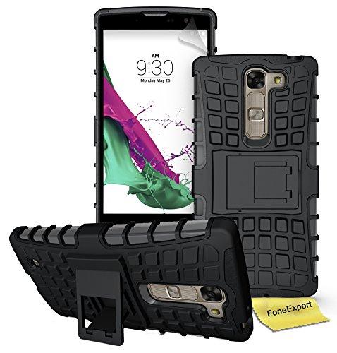 LG Magna / LG G4C Handy Tasche, FoneExpert® Hülle Abdeckung Cover schutzhülle Tough Strong Rugged Shock Proof Heavy Duty Case für LG Magna / LG G4C + Displayschutzfolie (Schwarz)
