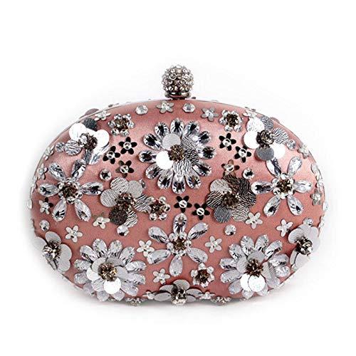 ZTDXCL Damen Clutch Geschirrtasche Strass Diamant Blütenblatt Dinner-Paket Party Bankett Braut Kleid Tanzparty Abendtasche - Doppelseitige Blütenblatttasche -