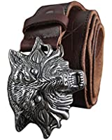 H&W Mens Genuine Leather Belts 38mm With Wolf Head Buckle