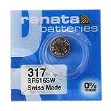 Renata SR516SW Uhrenbatterie 317, Silberoxidbatterie, 1,55V, 2Stück