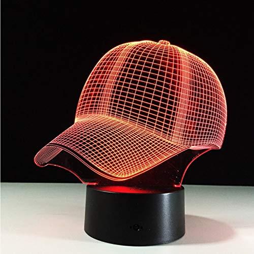3D Led Nachttischlampen 7 Farben Baseball Cap Schreibtisch Lampe Touch Ändern Schlafen Lampe Licht Acryl Hut Tischlampen Für Sport (Hut Licht Mit Harten Spielzeug)