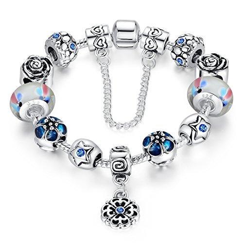 Cadena de Seguridad amor plateado plata de la flor colgantes murano pulsera...