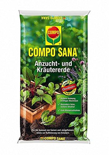 COMPO SANA Anzucht- und Kräutererde mit 6 Wochen Dünger für alle Jung- und Kräuterpflanzen, Kultursubstrat, 40 Liter