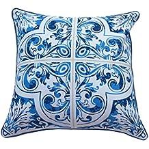 Clara Azul Azulejos patrón fundas de cojín Algodón Varios Tamaños diseños marroquí mediterráneo español mexicano exterior interior almohada decorativa